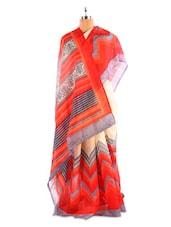 Red And Cream Bhagalpuri Silk Saree - Fabdeal