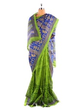 Green And Blue Bhagalpuri Silk Saree - Fabdeal
