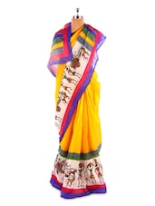 Yellow Bhagalpuri Silk Printed Saree - Fabdeal