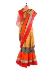 Beige, Orange And Red Bhagalpuri Silk Saree - Fabdeal