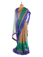 Beige Base Saree With Blue And Green Border - Fabdeal