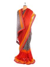 Black, Red And Orange Saree - Fabdeal