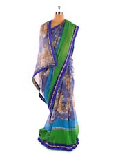 Blue And Green Printed Georgette Saree - Fabdeal