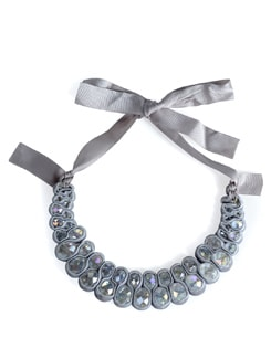 Grey Crystal Choker Necklace - Tribal Zone