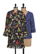 Set Of Hearts Top And Black Printed Dress - @ 499