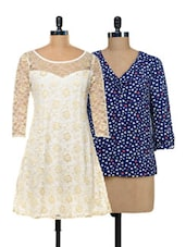 Set Of Hearts Top And Lace Dress - @ 499