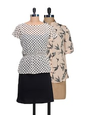 Set Of Cream Bats Print Top And Monochrome Dress - @ 499