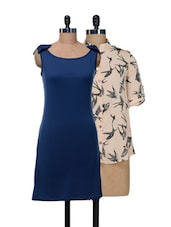 Set Of Cream Bats Print Top And Solid Blue Dress - @ 499
