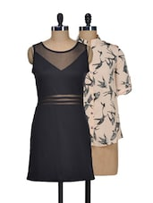 Set Of Cream Bats Print Top And Solid Black Dress - @ 499