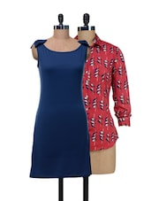 Set Of Red Printed Top And Solid Blue Dress - @ 499