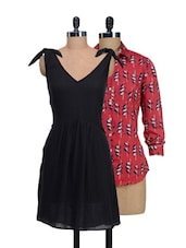 Set Of Red Printed Top And Solid Black Dress - @ 499