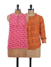 Cart Print Top & Sheer Orange Top Set - @ 499