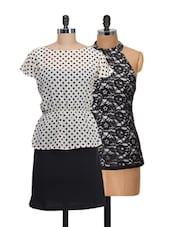 Set Of Polka Dotted Dress And Halter Neck Top - @ 499