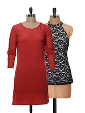 Set Of Red Full-sleeved Dress And Black Halter Neck Top - @ 499