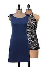 Set Of Solid Blue Dress And Black Halter Top - @ 499
