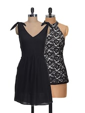 Set Of Black V-neck Dress And Black Halter Neck Top - @ 499