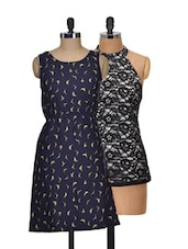 Set Of Navy Bird Print Dress And Black Halter Neck Top - @ 499