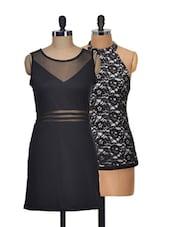 Set Of Solid Black Dress And Black Halter Neck Top - @ 499