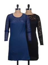 Set Of Solid Black And Blue Dress - @ 499