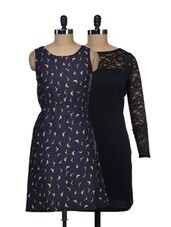 Set Of Solid Black Dress And Navy Bird Print Dress - @ 499
