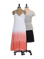 Set Of Polka Dotted Dress And White And Red Ombre Dress - @ 499