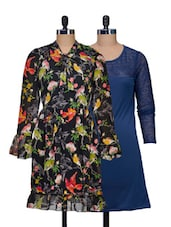 Set Of Solid Blue Dress And Multi-coloured Printed Dress - @ 499