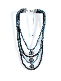 Blue And Black Layered Necklace - Tribal Zone