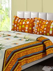 Mustard And White Printed Double Bed Sheet, 2 Pillow Covers - Desi Connection