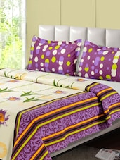 Purple And Off- White Printed Double Bed Sheet, 2 Pillow Covers - Desi Connection
