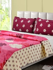 Pink And Maroon Printed Double Bed Sheet, 2 Pillow Covers - Desi Connection