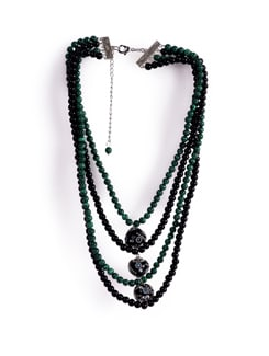 Green And Black Beaded Necklace - Tribal Zone