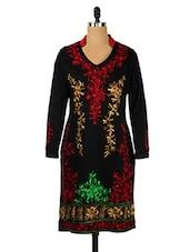 Black Collared Woollen Kurti With Multicoloured Embroidery - Nataasha Dubliish