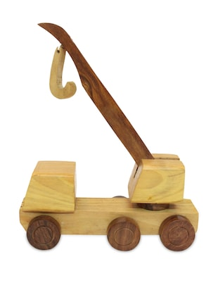 Natural wooden crane toy