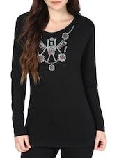 Casual Black Full-Sleeved Top - L'elegantae