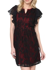 Red And Black Floral Lace Dress - L'elegantae