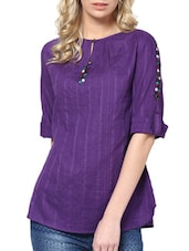 Solid Purple Top With Button Embellishments - L'elegantae