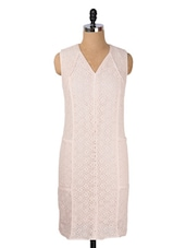 Soft Pink Floral Lace Shift Dress - Avirate