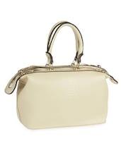 Textured Beige Leatherette Bag - Alonzo