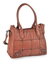 Grid Brown Leatherette Bag - Alonzo
