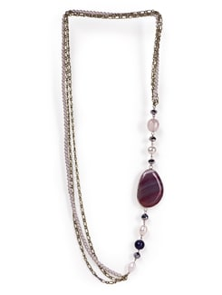 Long Necklace With Pink Stone - Tribal Zone