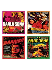 Multi-coloured Retro Movie Coasters Set Of 4 - EK DO DHAI
