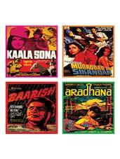 Multi-coloured Retro Movie Coasters Set Of 4 - EK DO DHAI