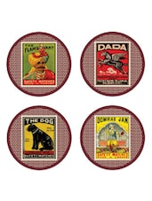 Multi-coloured Match-box Print Coasters Set Of 4 - EK DO DHAI