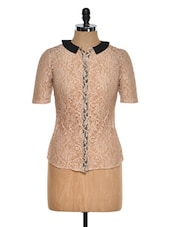 Beige Net Top With Peterpan Collar - STREET 9
