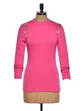 Studded Fuchsia Cotton Knit Top - STREET 9
