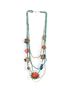Long Necklace With Floral Motifs - Tribal Zone