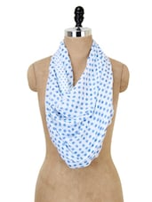 White And Blue Polka-dotted Stole - Jaipur Vogue