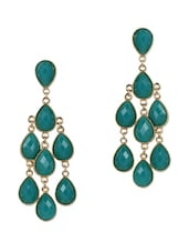 Teal Stone Chandelier Earrings - Fashionography