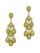Green Stone Chandelier Earrings - Fashionography