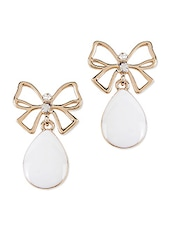 Golden Bow Earrings With White Stone - Svvelte